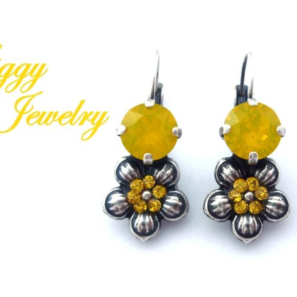 4480bc7a3f6762 Jewelry   Swarovski Crystal Yellow Opal Flower Earrings   Poshmark